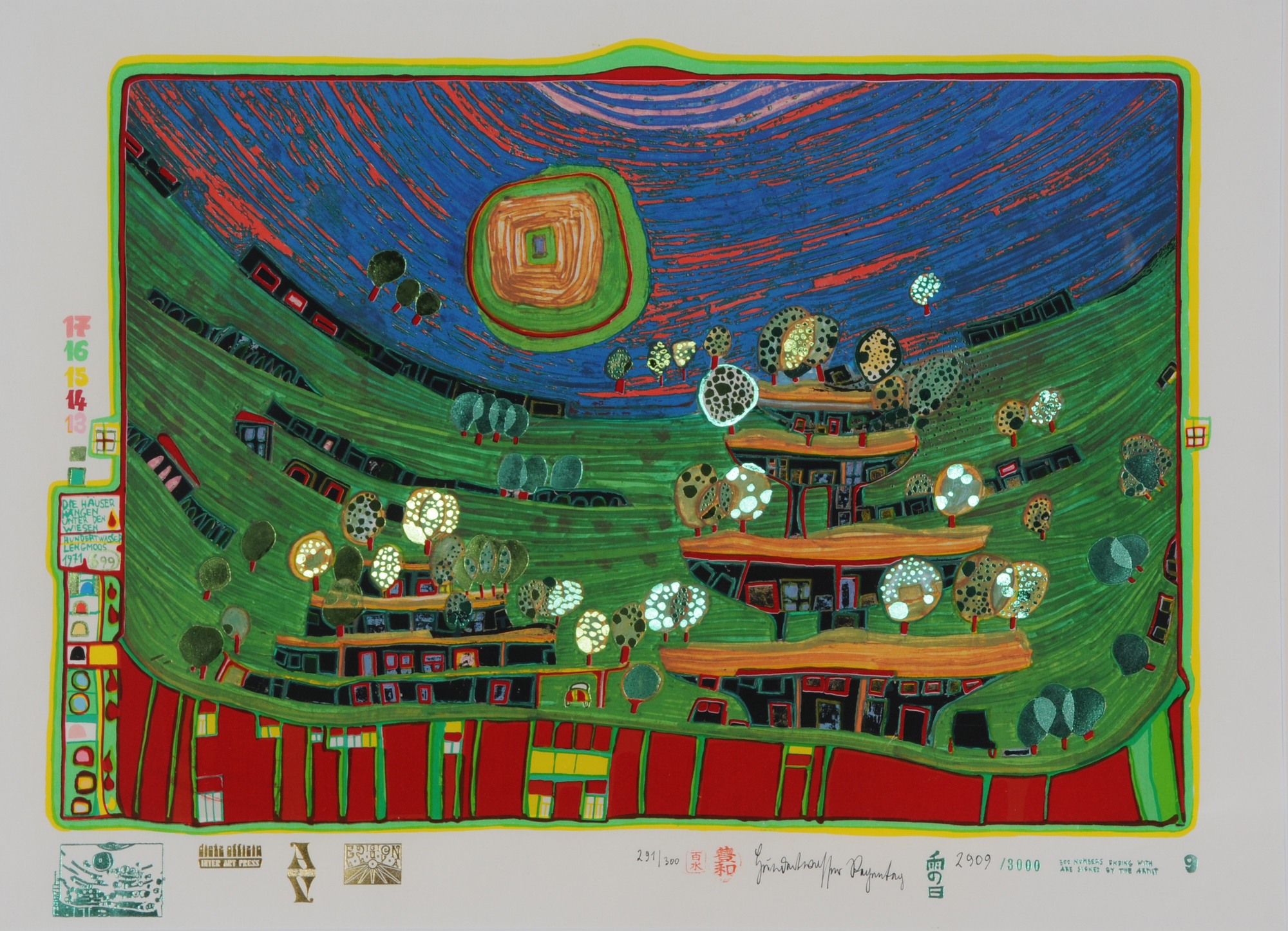 "Hundertwasser Friedensreich, Die Häuser hängen unter den Wiesen, from ""Look at It on a Rainy Day"""