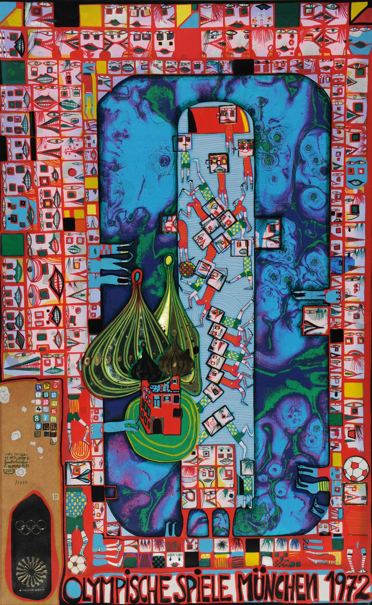 Hundertwasser Friedensreich, 2 sheets: Olympische Spiele München 1972 (Postversion); Tender Dinghi, 1984