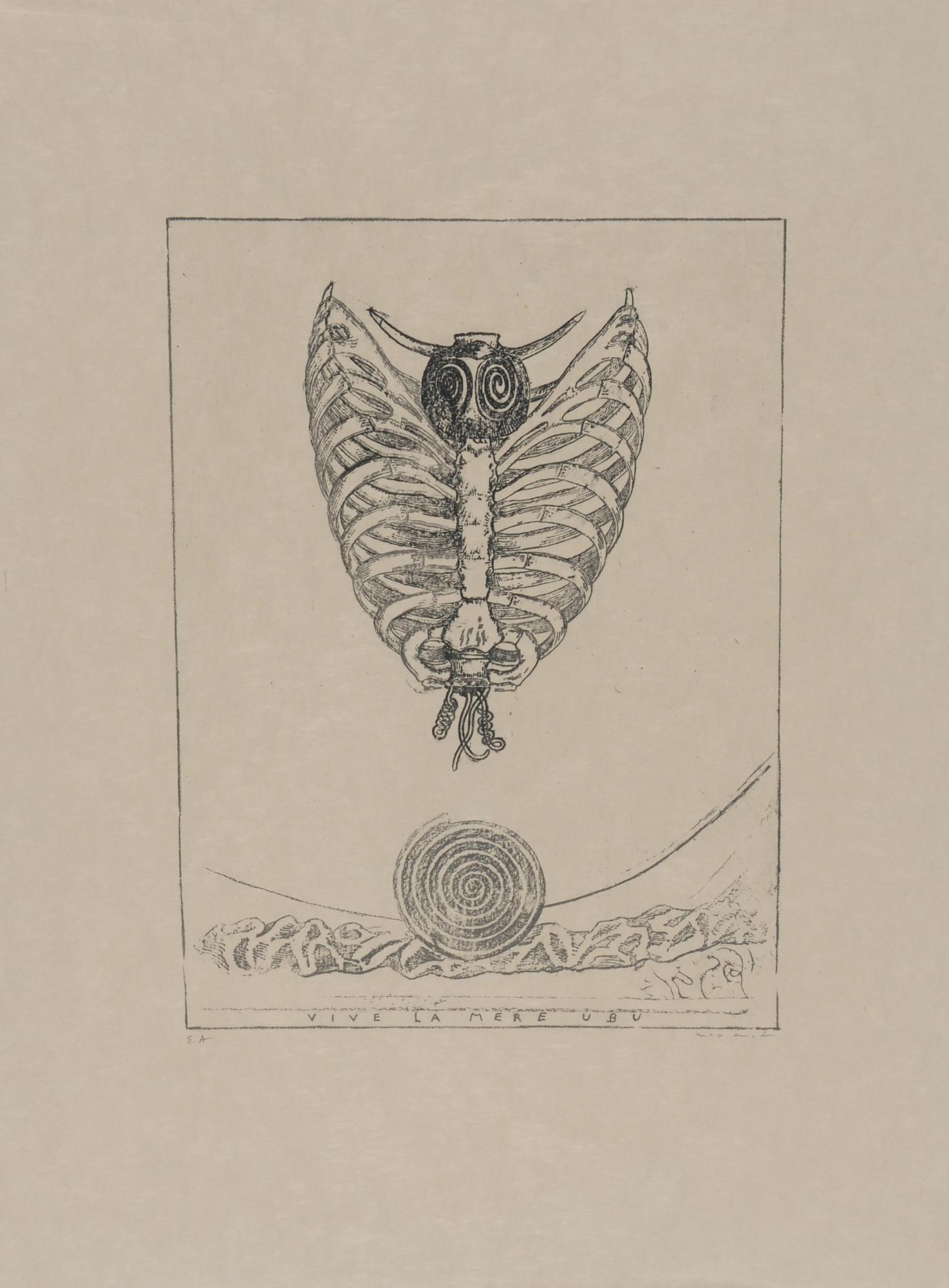 "Ernst Max, 2 sheets: Déchants d'atelier, 1968; Sheet from ""Alfred Jarry, Décervelages"""