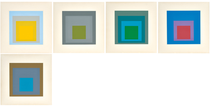 "Albers Josef, 5 sheets from ""Homage to the Square"""