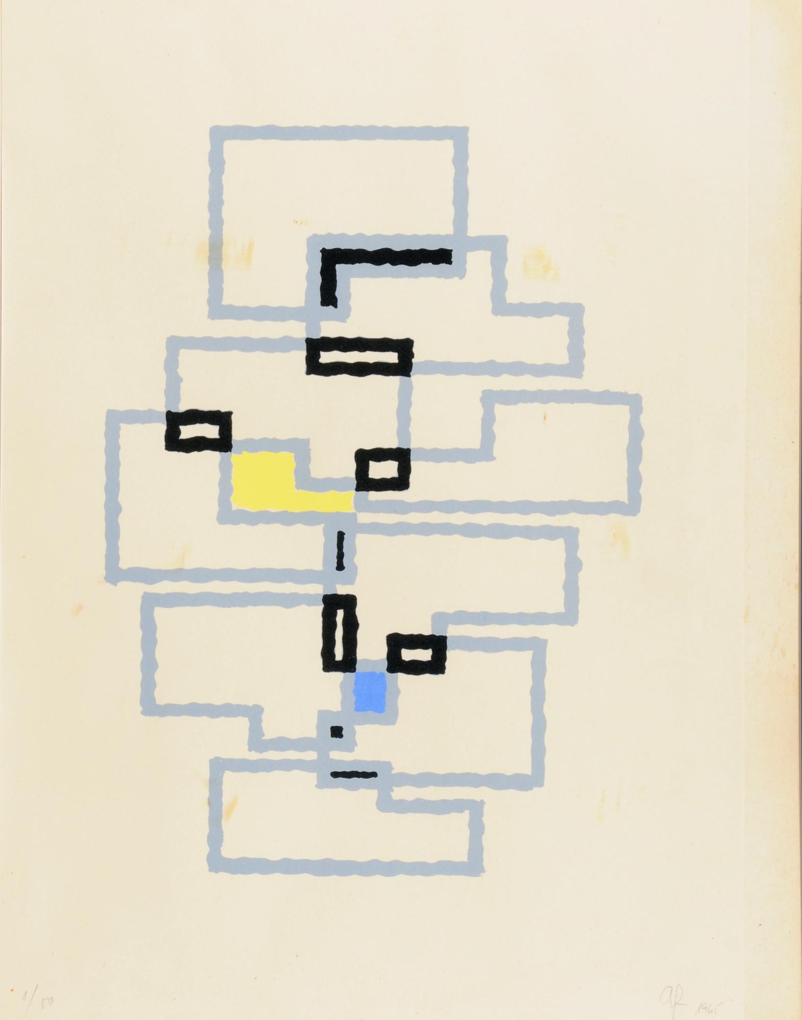 Fleischmann Adolph R., Komposition mit Rechtecken in Grau, Black, Gelb und Blau