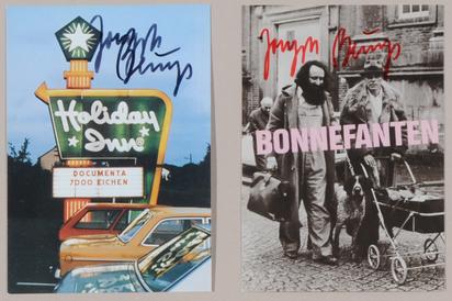 Beuys Joseph, 2 postcards: Bonnefanten, 1975; Holiday Inn - 7000 Eichen, 1982
