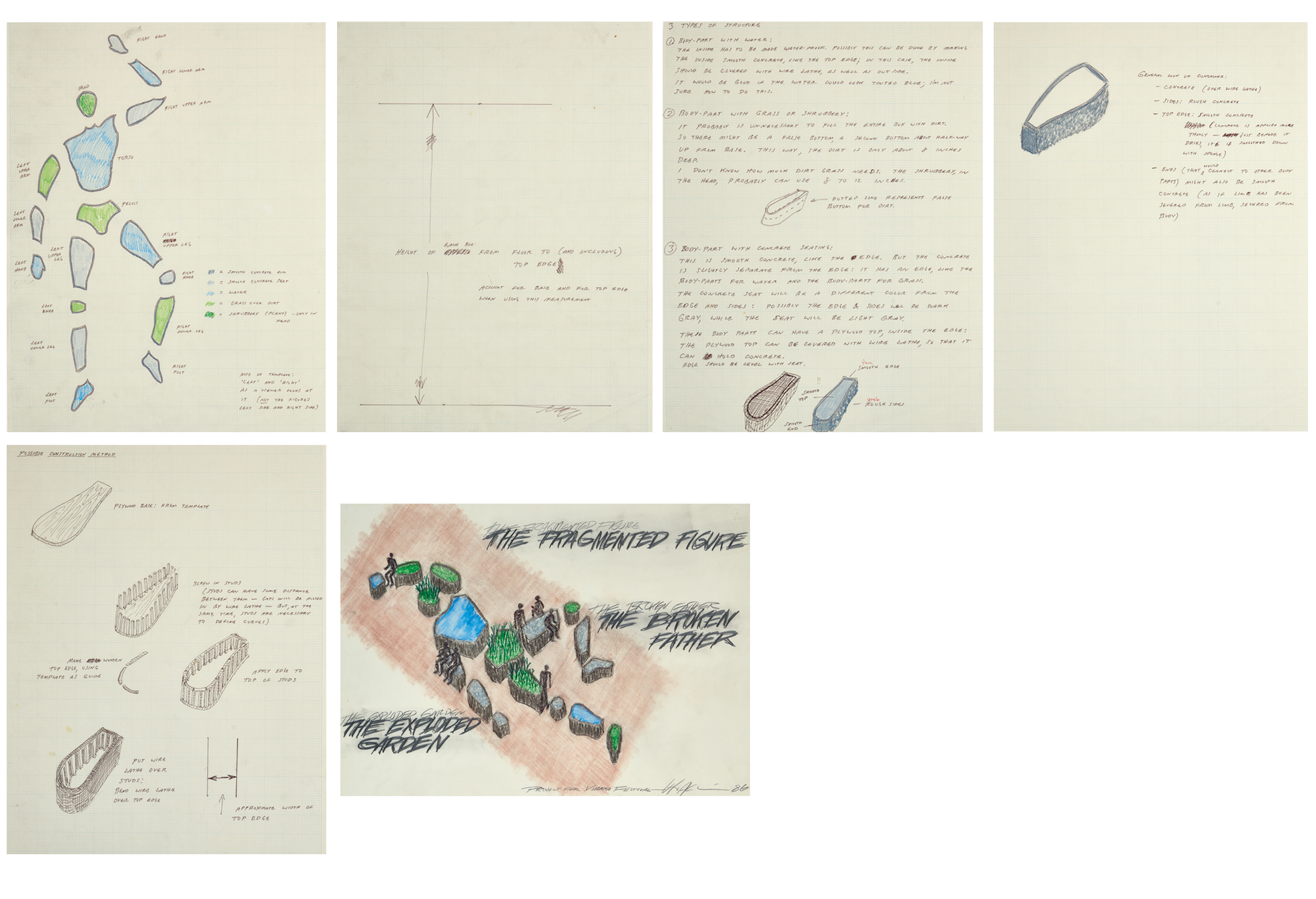 """Acconci Vito, 6 studies for """"Project for Vienna Festival"""""""