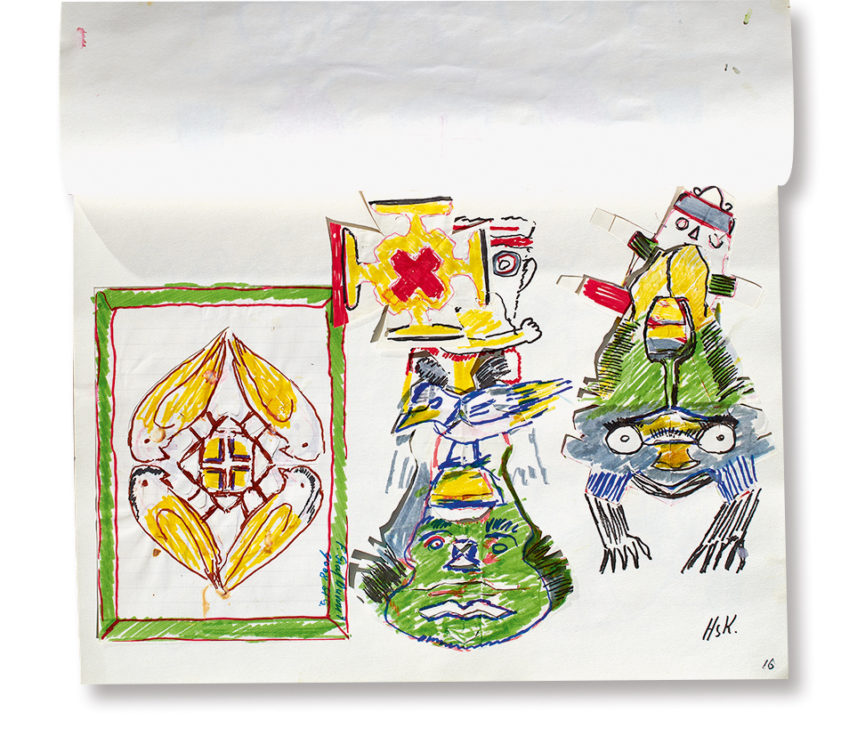 Krüsi Hans, Booklet with 20 drawings and collages