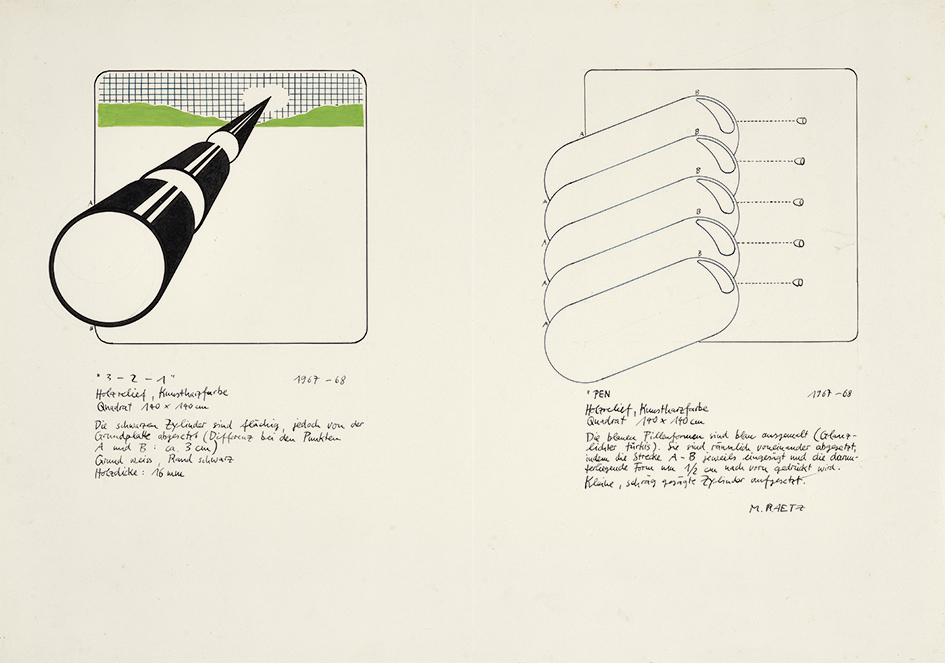 """Raetz Markus, Project sketch for Documenta 4: """"3 - 2 - 1"""" and """"PEN"""""""