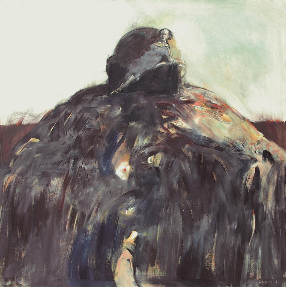Indermaur Robert, Recto: Wohnlandschaft II (Living Landscape), 1983; Verso: Stehender Mann in langer schwarzer Robe