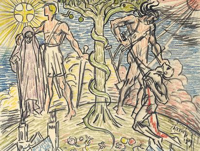 Symbolische Darstellung mit Lebensbaum
