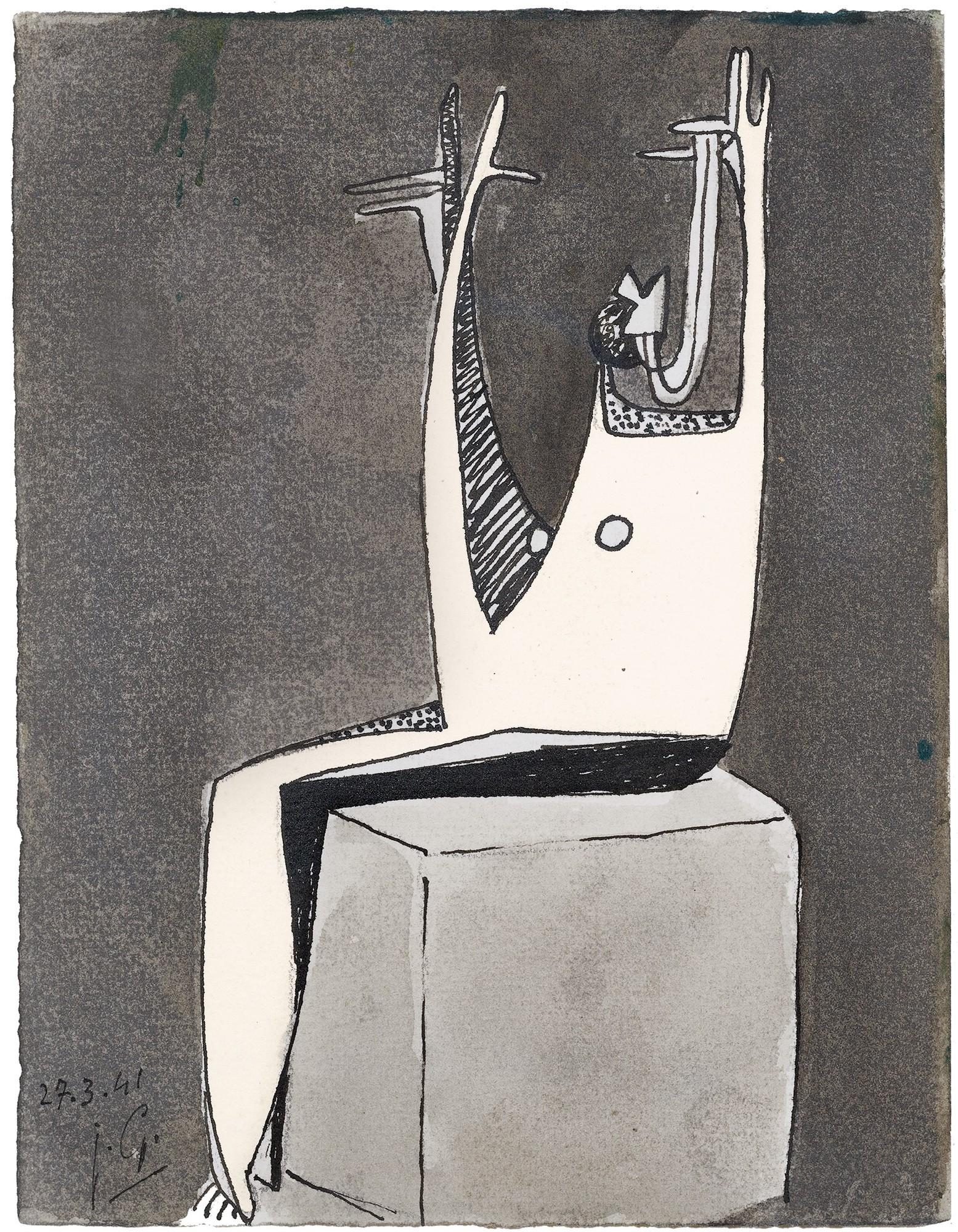 González Julio, Femme assise, les bras levés
