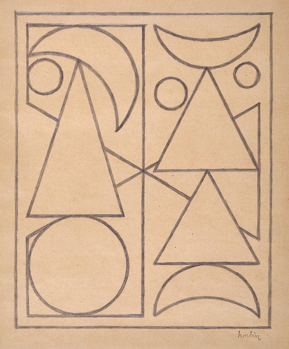 Herbin Auguste, Recto/verso: Sans titre (Etude pour Rose III)