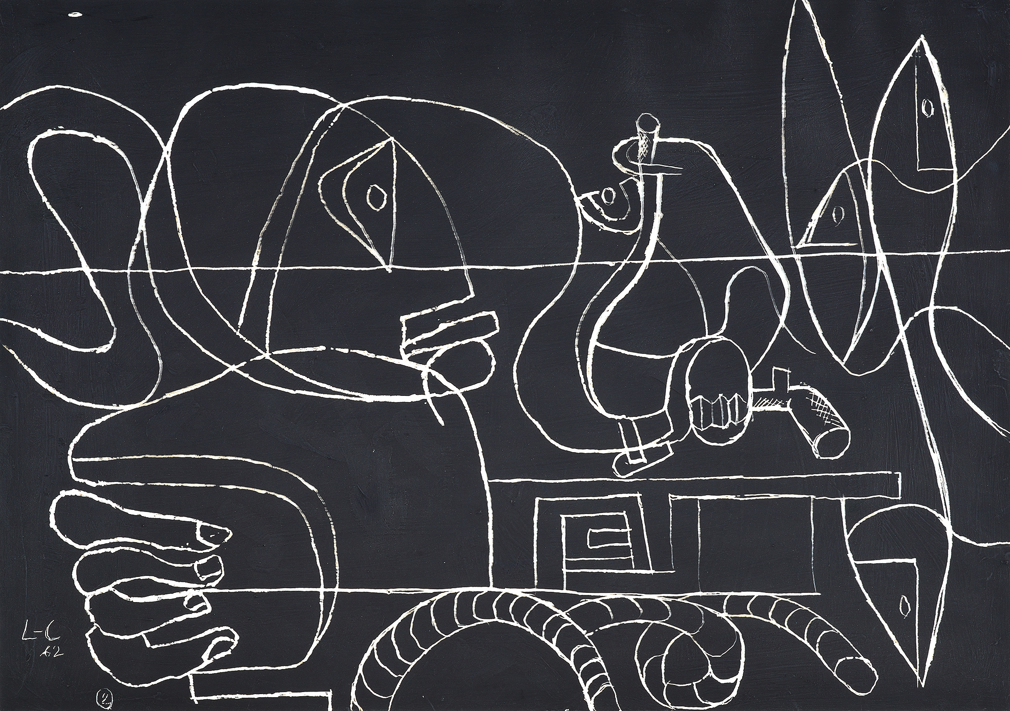 Corbusier Le, Figure, carafes, verre, pipe, poissons et cordage