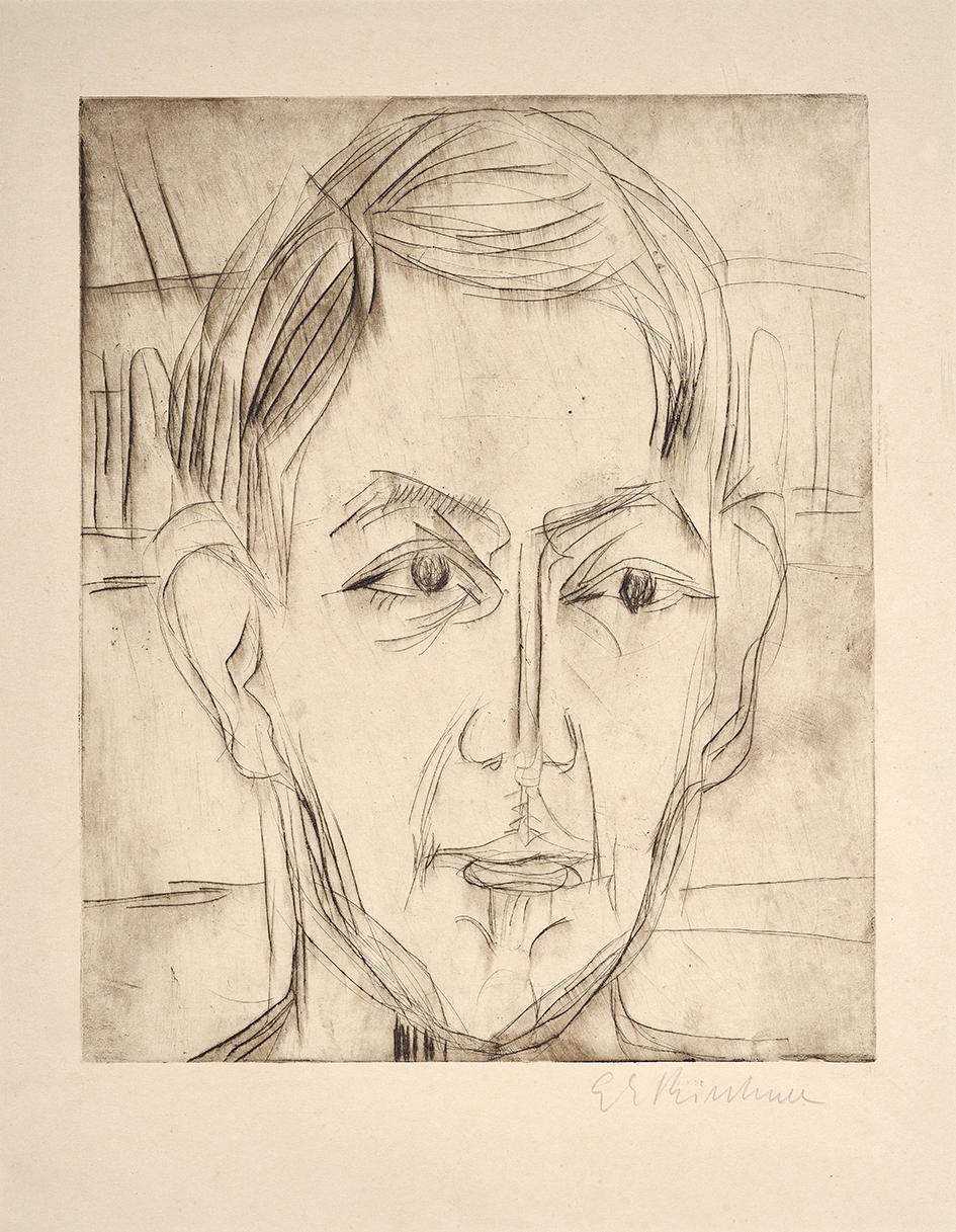Kirchner Ernst Ludwig, Kopf eines jungen Mannes (Dr. Hans Bütow), Head of a Young Man (Dr. Hans Bütow)