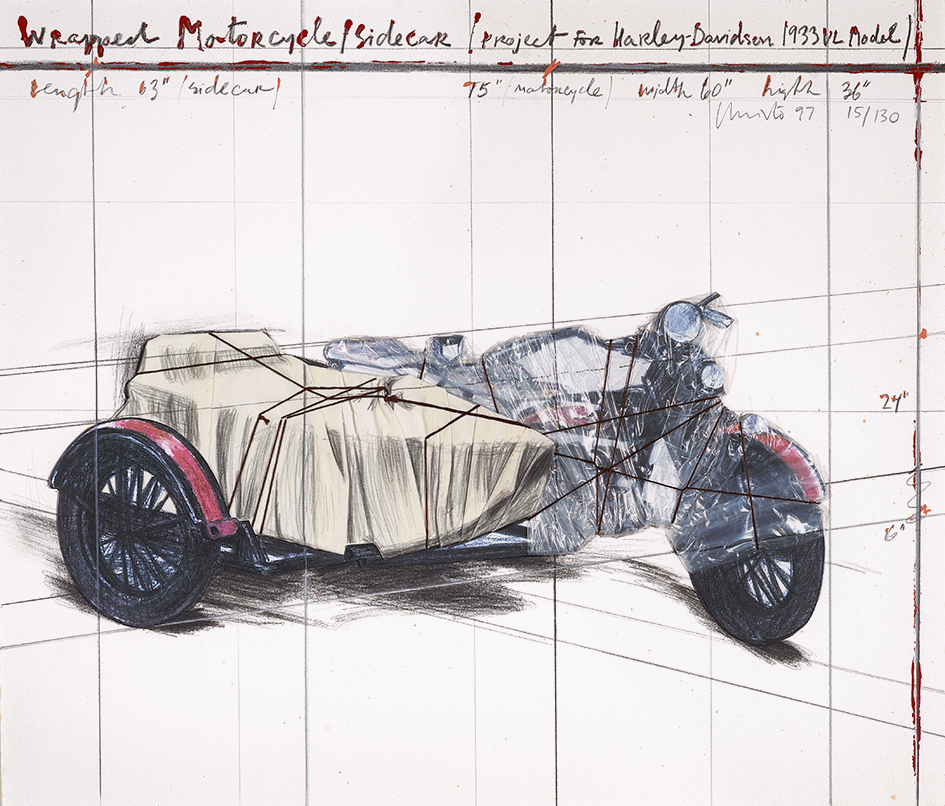 Christo, Wrapped Motorcycle/Sidecar (Project for Harley-Davidson 1933 VL Model)