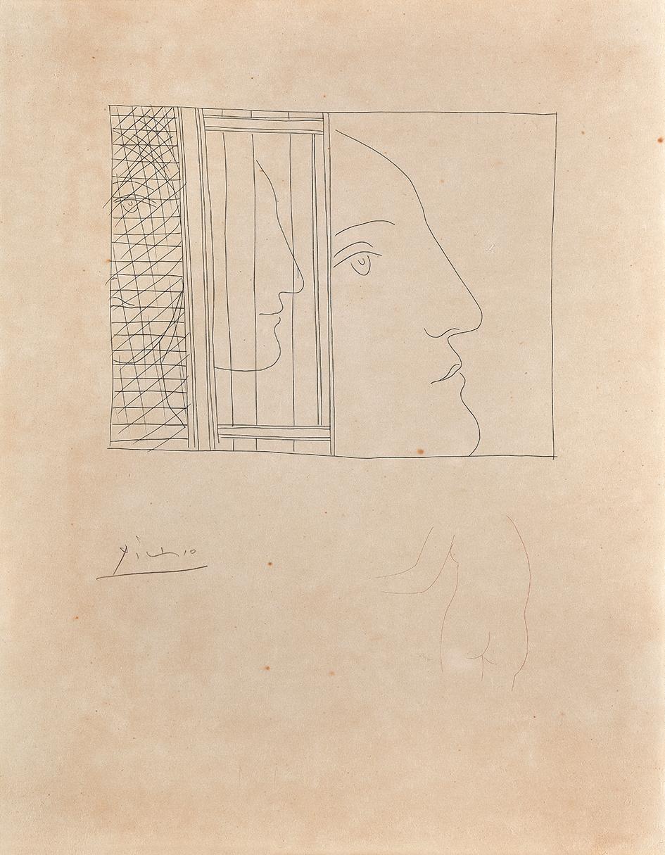 """Picasso Pablo, Trois fragments de têtes, from """"Les métamorphoses d'Ovide"""""""