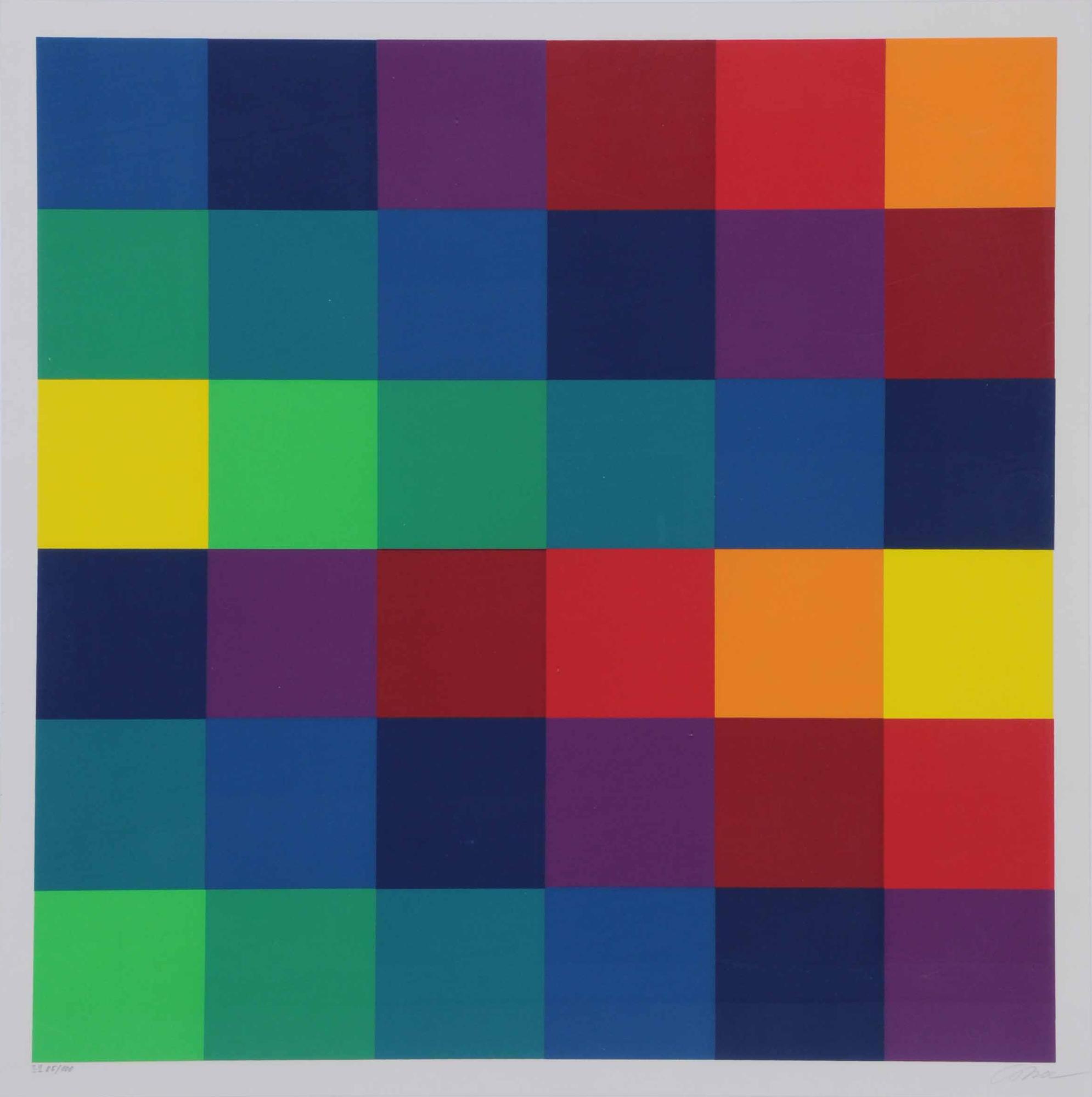 Lohse Richard Paul, Sechs systematische Farbreihen von gelb zu gelb 1967 (II-II) Zentrum