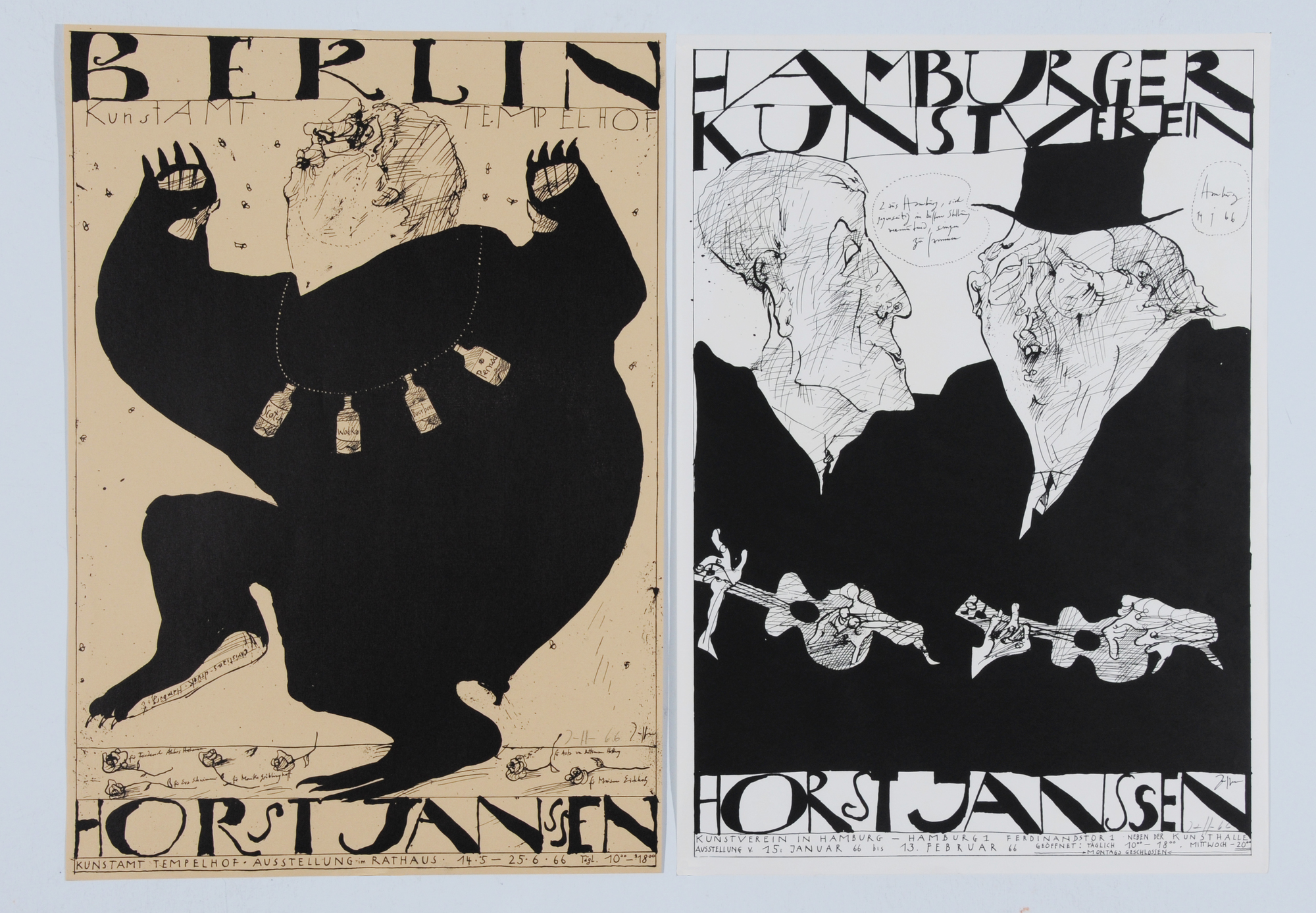 Janssen Horst, 8 posters: Kunstamt Tempelhof, 1966; Kestner-Gesellschaft Hannover, 1966; Hamburger Kunstverein, 1966; Laatzen's Bilderbogen; etc.