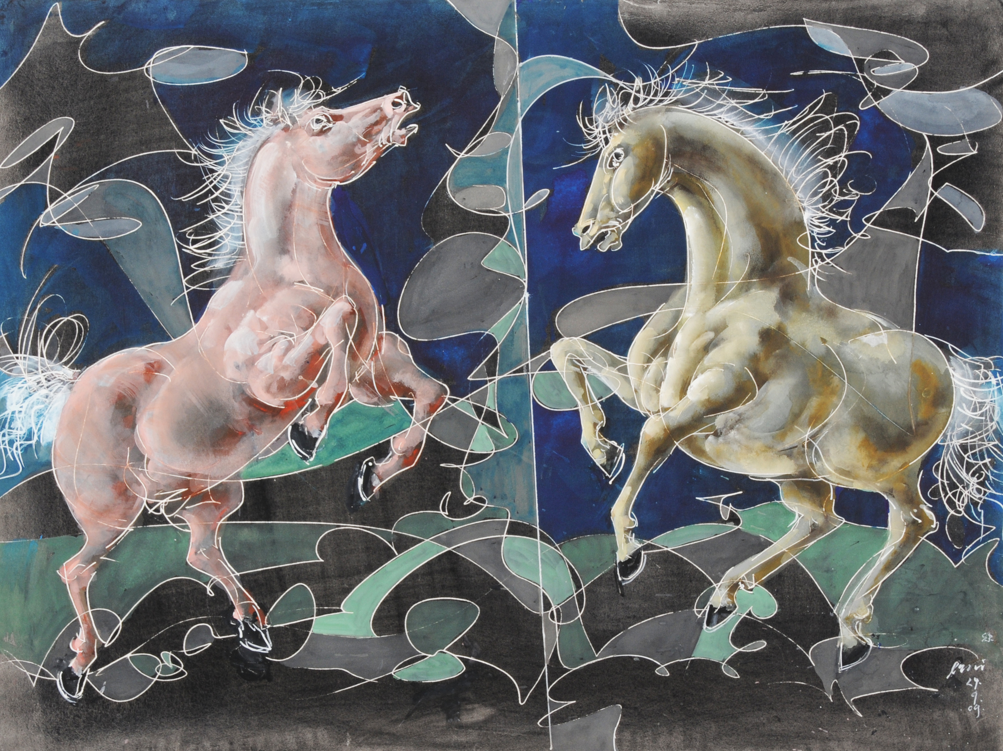 Erni Hans, Zwei steigende Pferde (Two Rearing Horses)