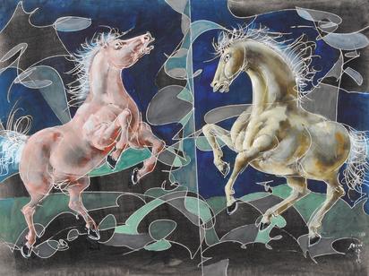 Zwei steigende Pferde (Two Rearing Horses)