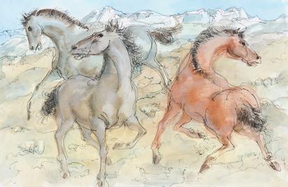 Drei Pferde im Freien (Three Horses in Nature)