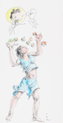 Junge Frau beim Auffangen von Äpfeln (Young Woman catching Apples)