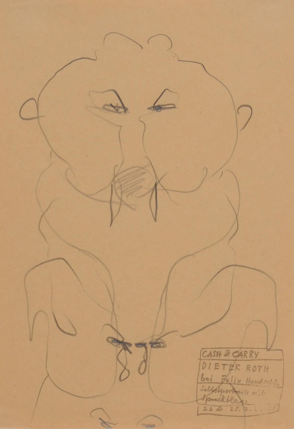 Roth Dieter, 3 drawings: Cash and Carry, Dieter Roth bei Felix Handschin, Selbstportraits mit Sprechblase