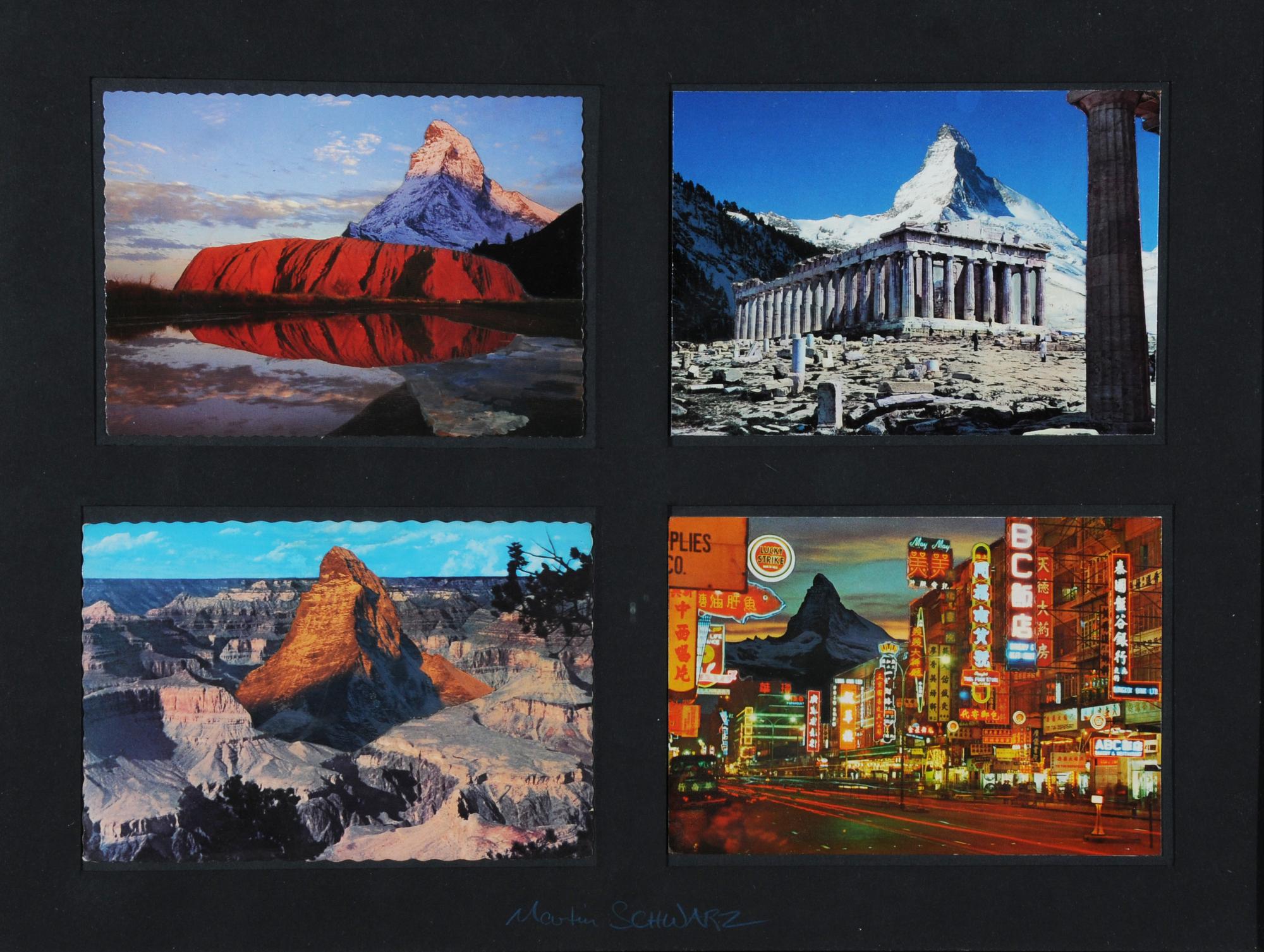 Schwarz Martin, 2 collages: Ein Phantast wird eingeflogen, 1983; Untitled