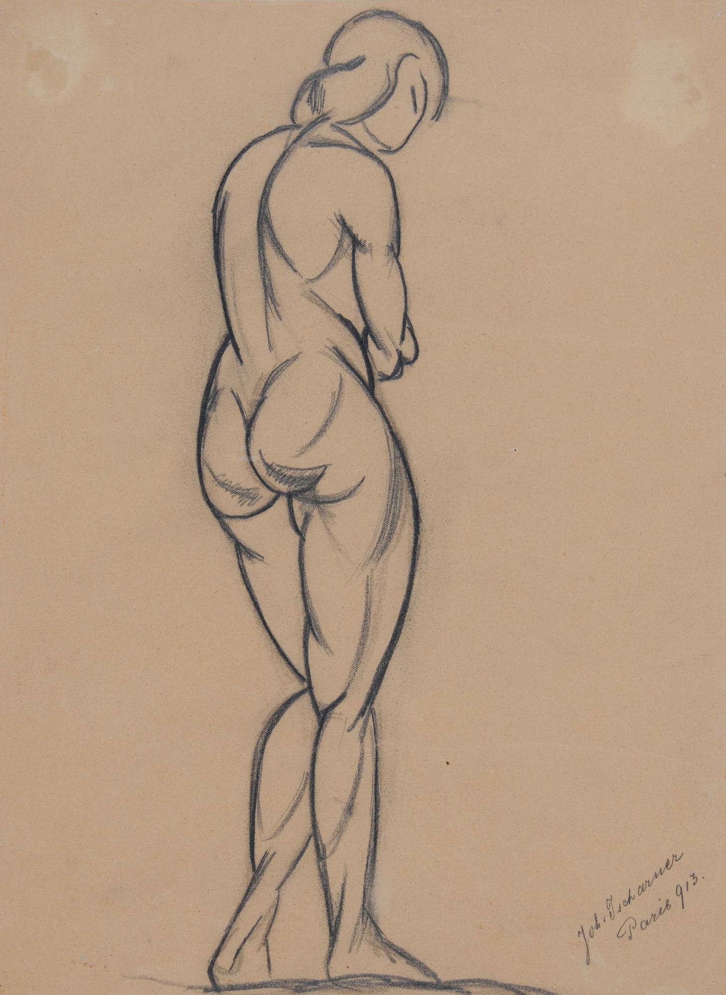 Tscharner Johann Wilhelm von, Standing Female Nude from behind