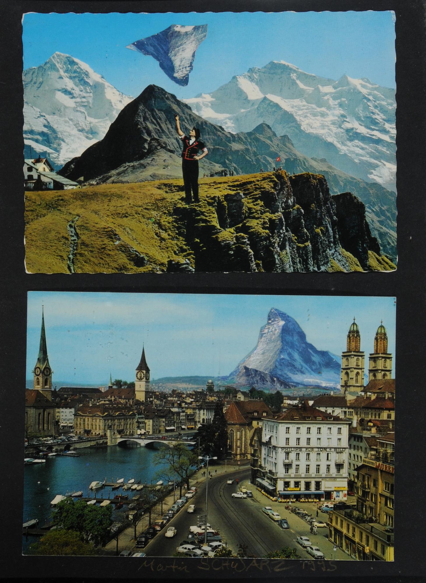 Schwarz Martin, 2 collages: Composition; Landscapes
