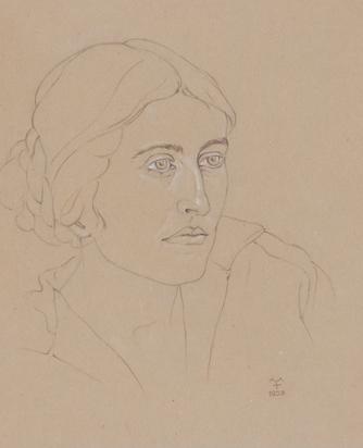 2 drawings: Porträt mit Mütze (Portrait with Cap), 1922; Frauenporträt (Portrait of a Women)
