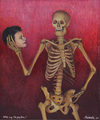2 paintings: What Was the Question, 2007; Saturno junior devorando a sus padres, 2008.