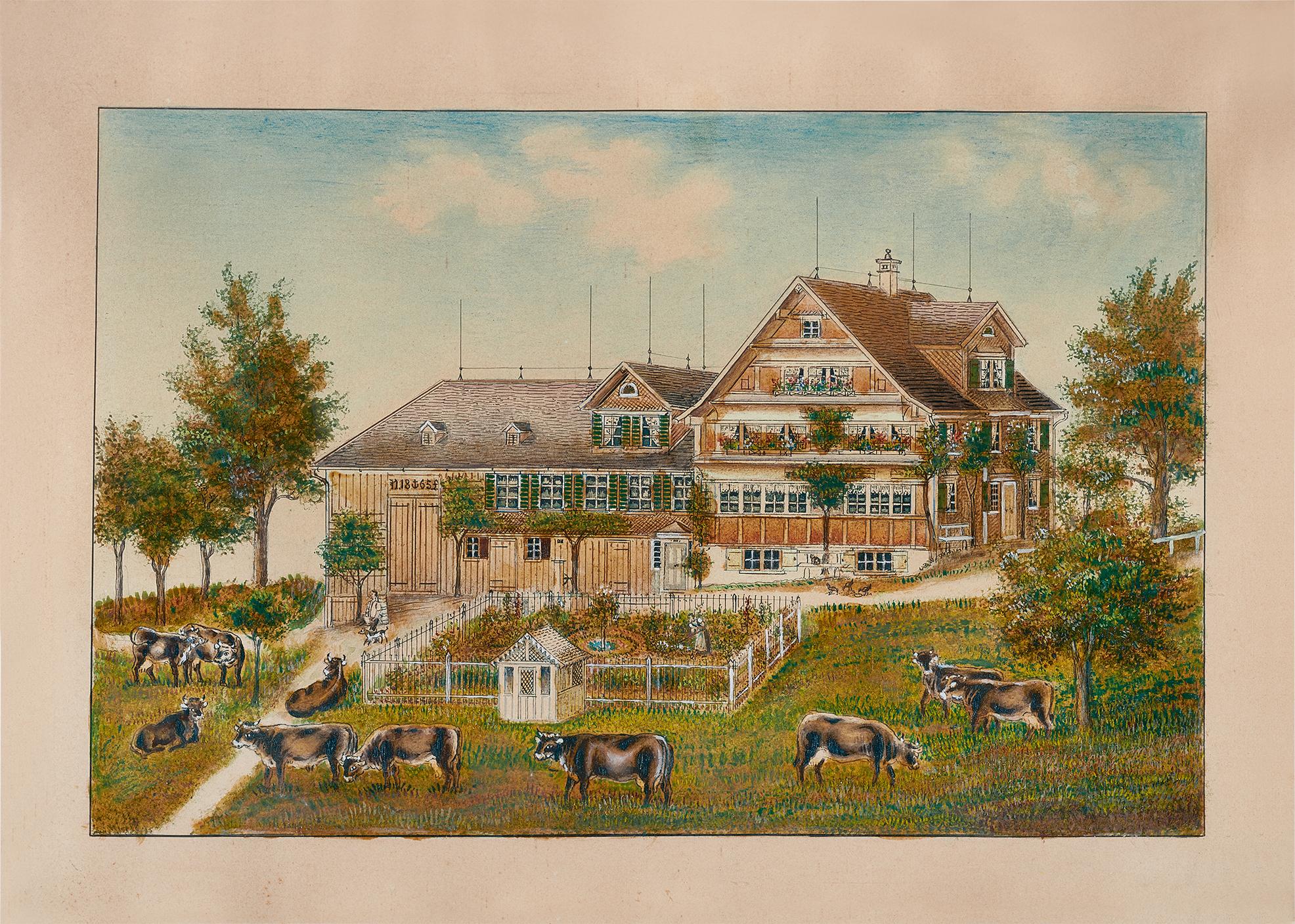 Aemisegger-Giezendanner Anna B., Weidende Kühe vor Toggenburgerhaus