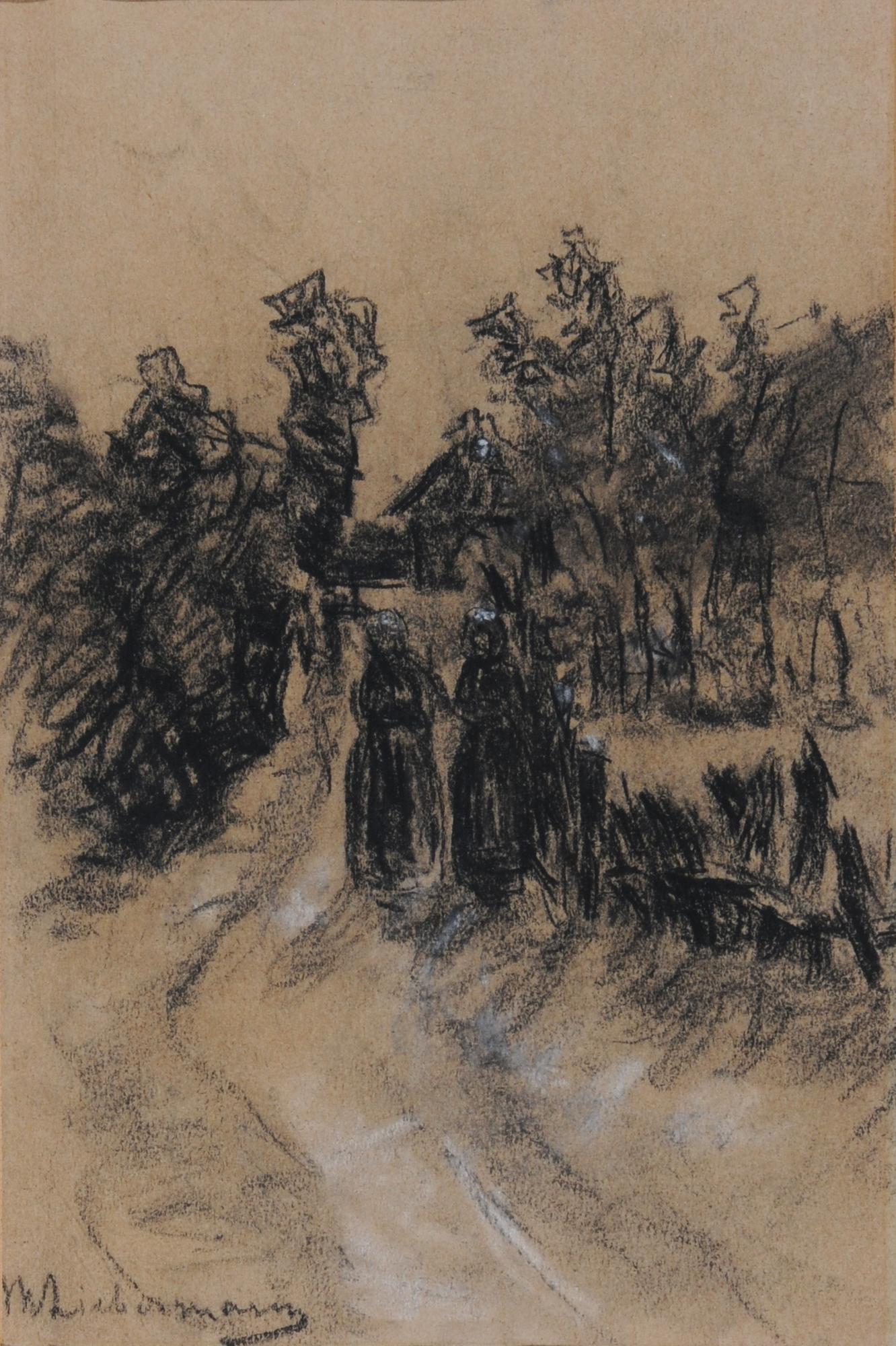Liebermann Max, Frauen beim Holzsammeln (Women collecting Wood); Verso: Studie eines Jungen (Study of a Boy)