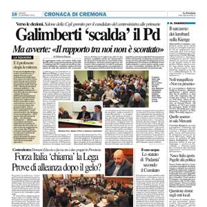 Galimberti 'scalda' il Pd