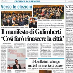 Il manifesto di Galimberti <br/> &#8216;Così farò rinascere la città&#8217;