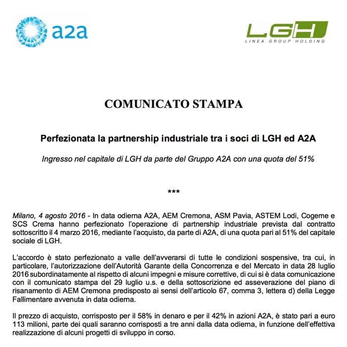 Davvero una giornata storica: chiusa anche la partnership Lgh-A2A. Cremona protagonista!