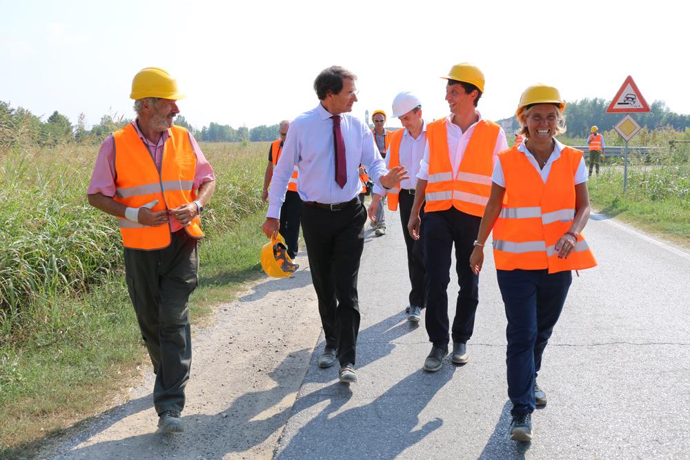 Sopralluogo alla Roggia Quistra: quasi terminata l'opera idraulica che riduce il rischio allagamenti in città