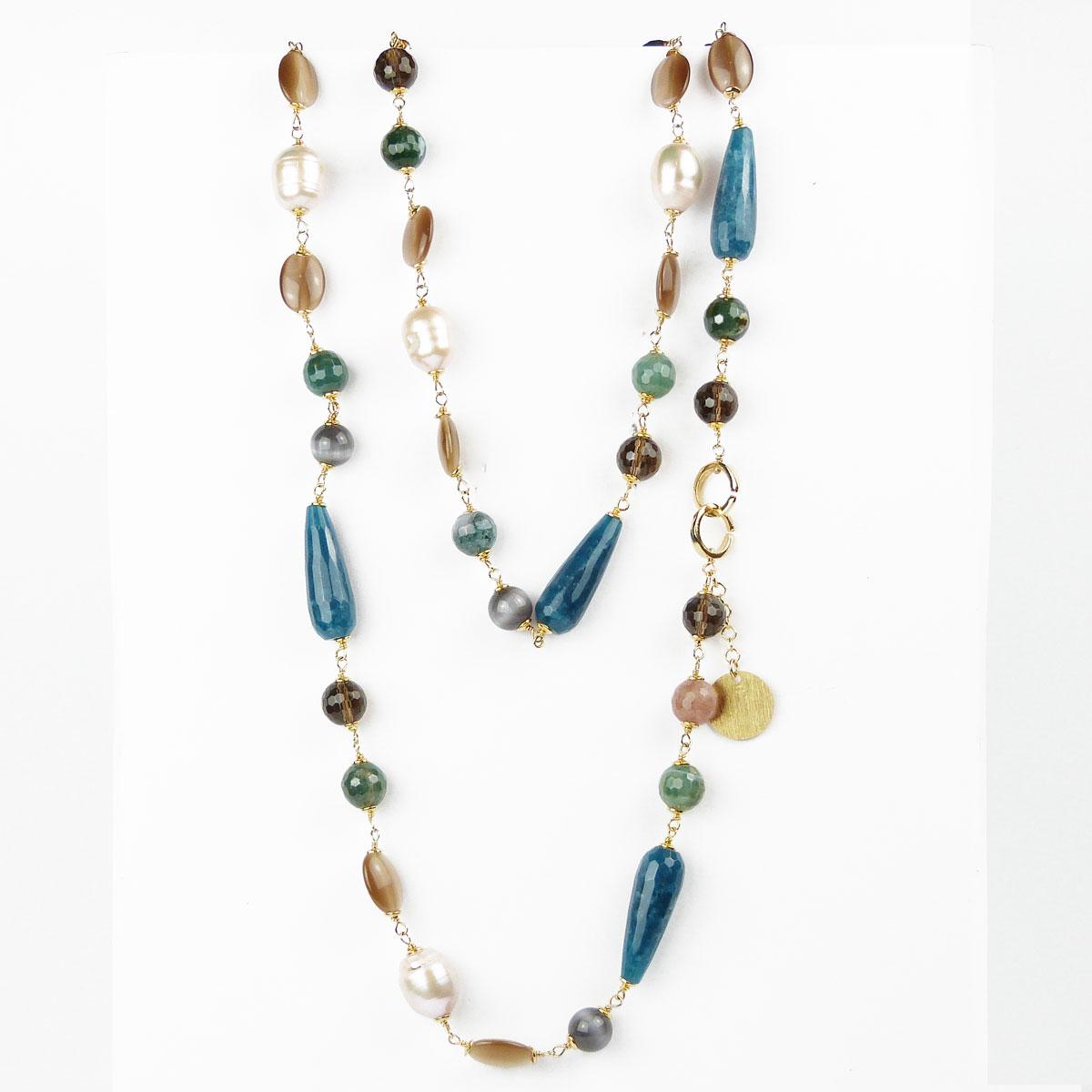 Amato Collana lunga con pietre Naturali e Perle | Gioielleria-Leonardi QS99
