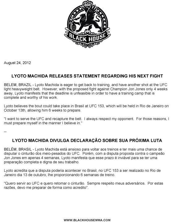 UFC 152 Lyoto Machida rifiuta il match perchè... 1