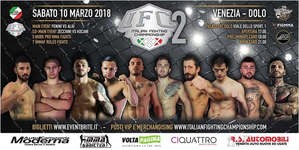 IFC 2 Sabato 10 Marzo a Dolo (Venezia): Penini vs Aliu per la Cintura Pesi Medi. 1