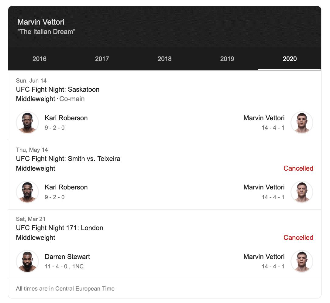 Marvin Vettori nel Main event di sabato 1