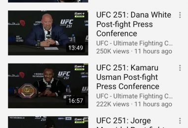 Piccola analisi dei numeri UFC 251 su Youtube. 1