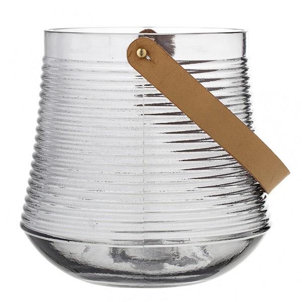 Laterne - 20 cm, Glas, mit Lederhenkel