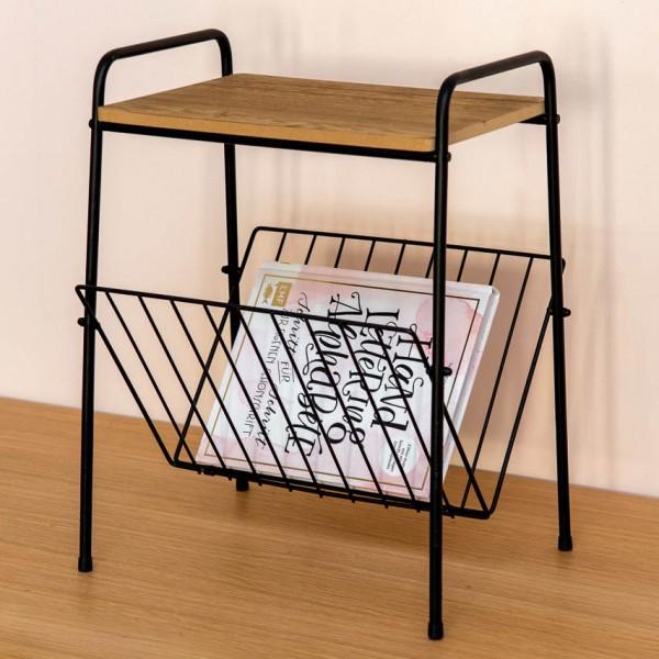 Beistelltisch - mit Zeitungsständer, Metall/Holz