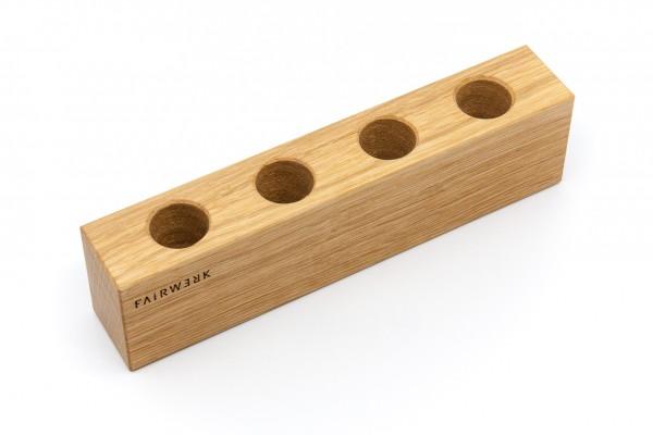 Vasen - 4 Reagenzgläser mit Holzaufsteller, Eiche