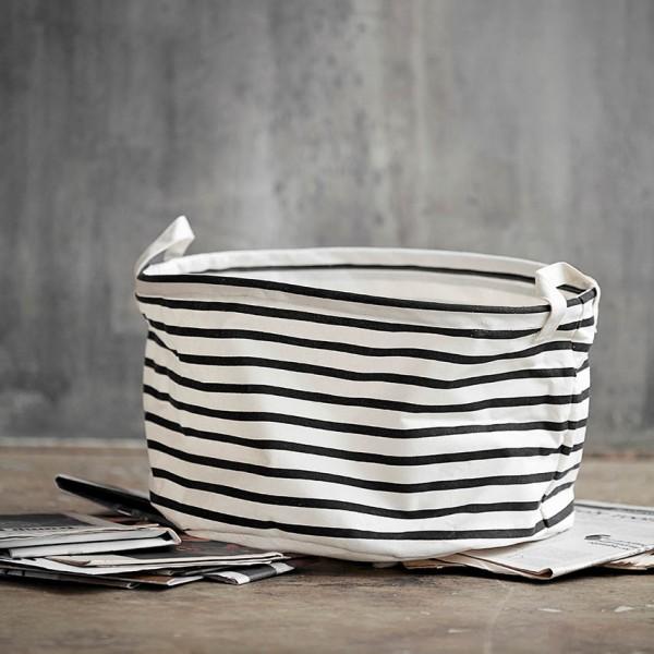 Aufbewahrungskorb Stripes - schwarz/weiß