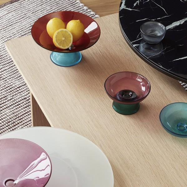 Deko Schale - Glas, orange/blau