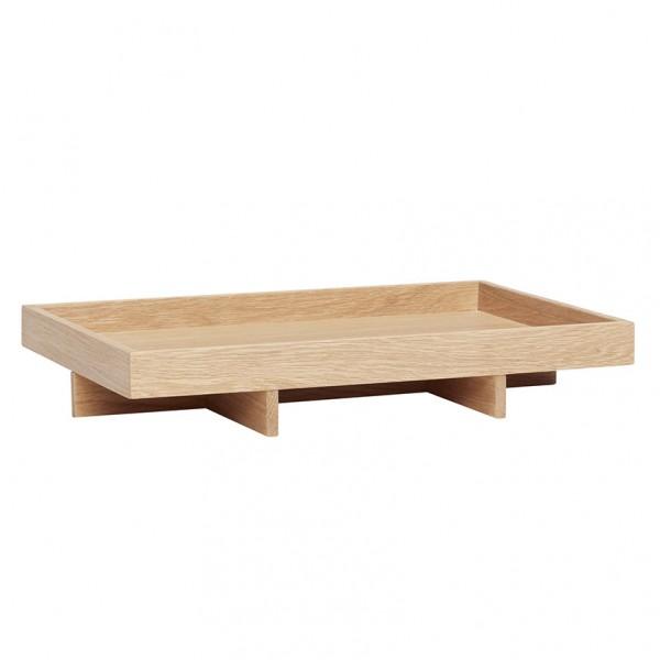 Tablett - mit Fuß, rechteckig, Holz (Eiche)