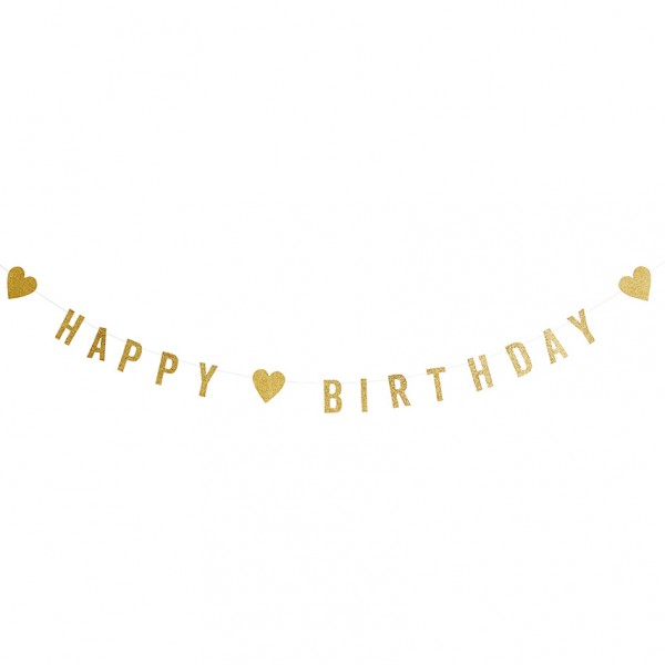 Girlande - Happy Birthday Schriftzug, gold