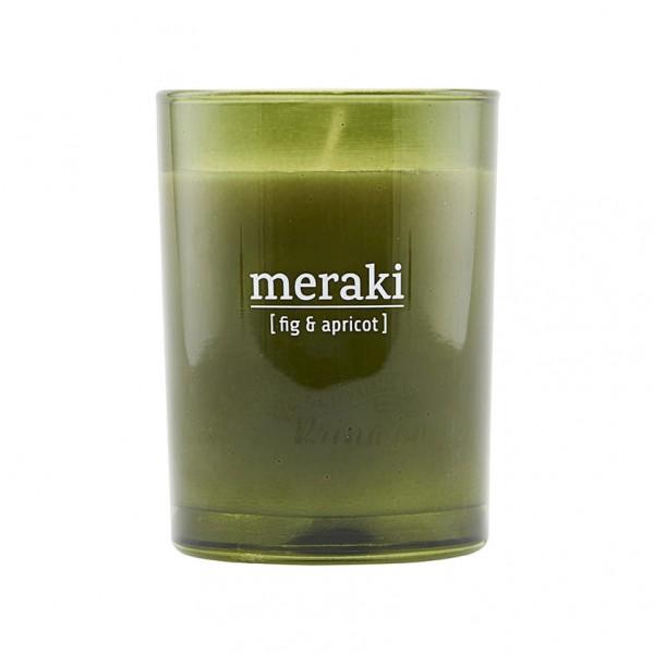 Duftkerze Fig & Apricot - 8x10,5 cm, grünes Glas