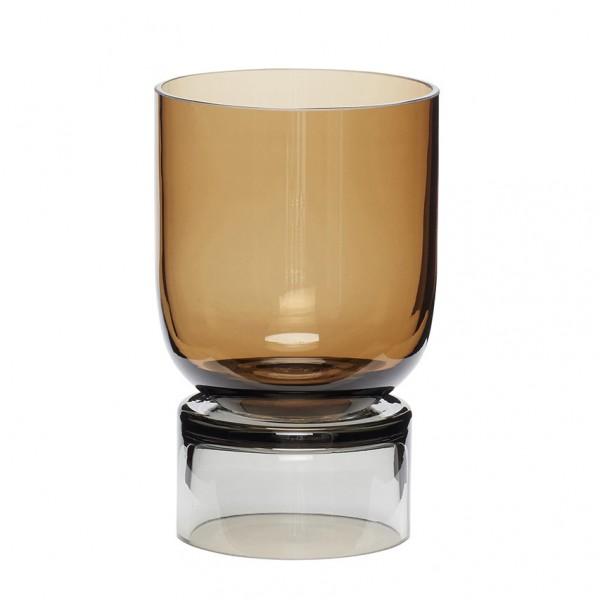 Vase - handgemacht, Glas, bernstein/grau