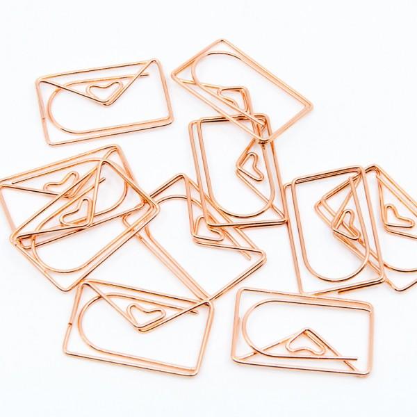 Büroklammern - 10er Set, Briefumschlag mit Herz